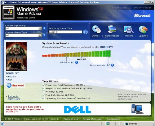WindowsXP Game Advisor