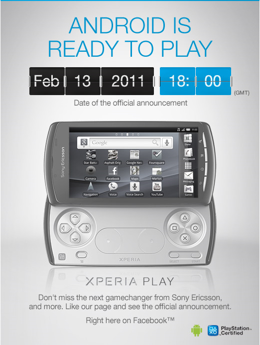 Sony покажет PlayStation Phone (Sony Ericsson Xperia Play) уже 13-го февраля