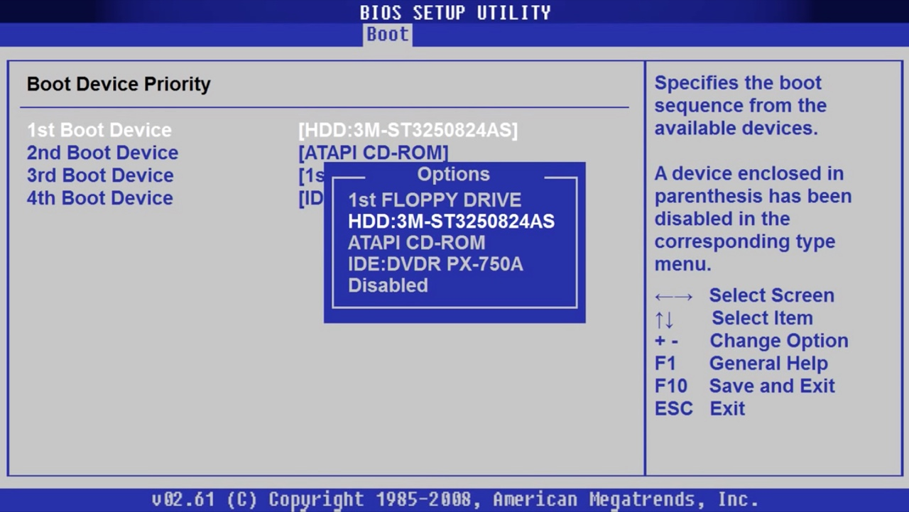 BIOS boot priority devices