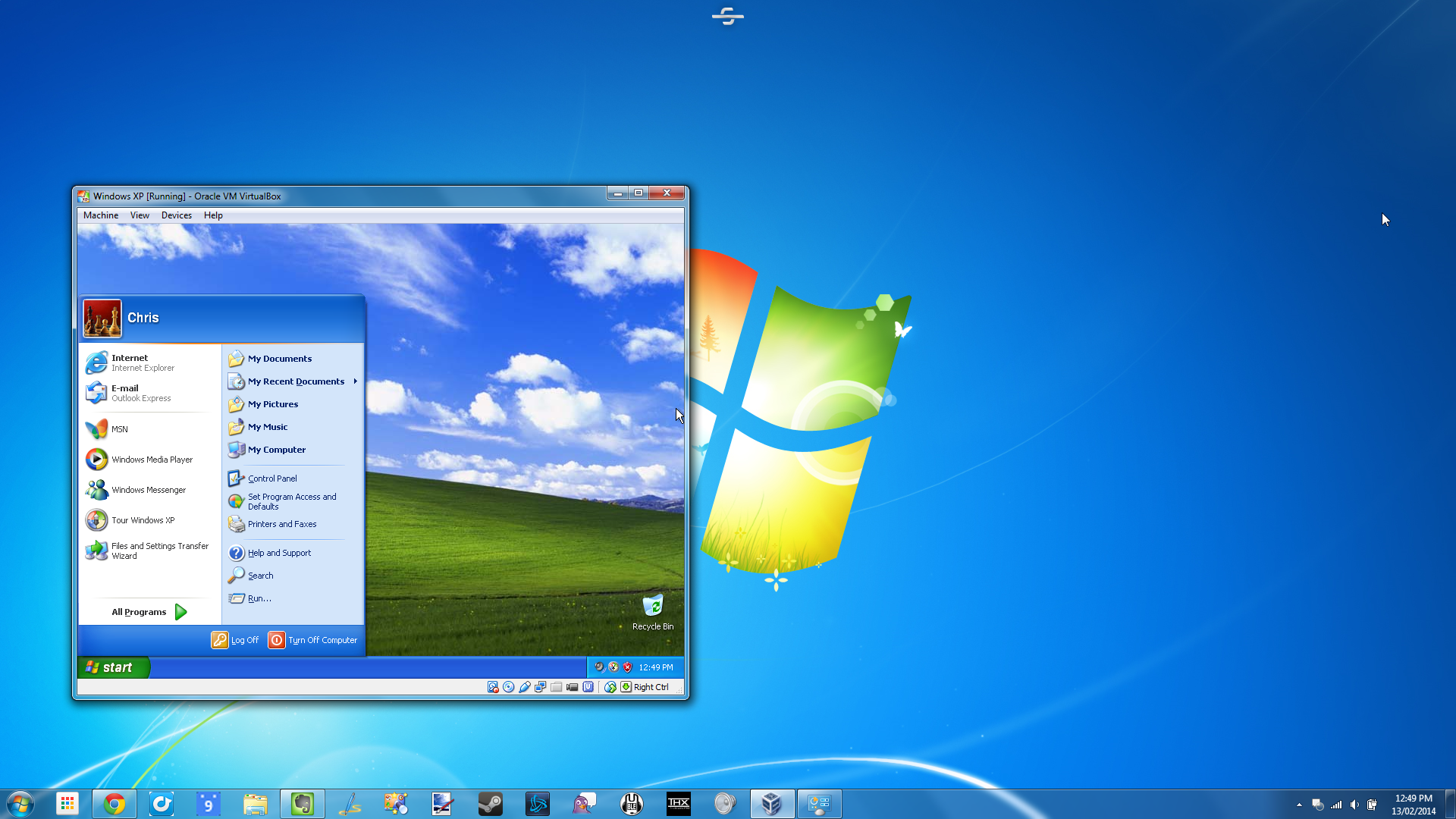 Запущенная Windows XP под Windows 7 с использованием XP Mode